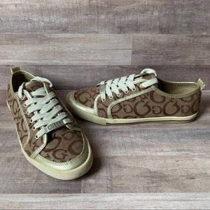 Guess Signature Tan/Gold Lace Up Sneakers